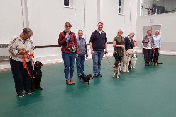Line up for Class 2 for our Yearly obedience test