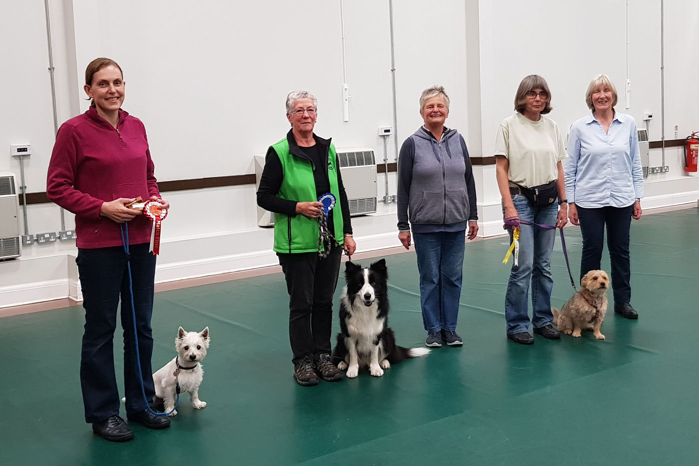 Line up for Class 4 for our yearly obedience test